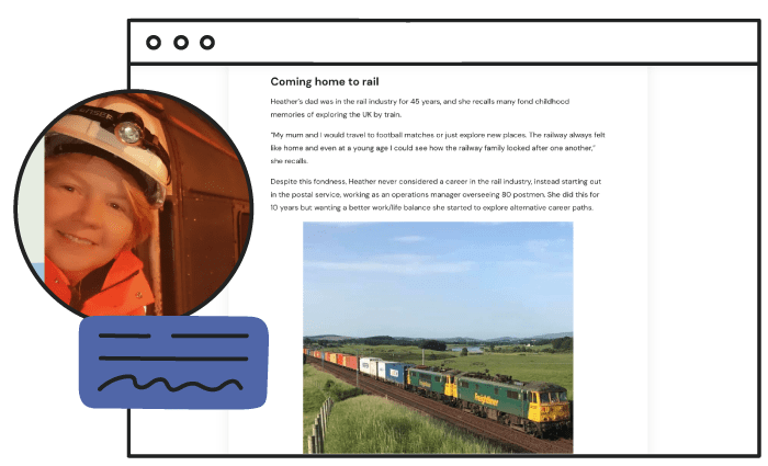 Screenshot of WORK180 Employee story, Challenging perceptions as a woman freight train driver