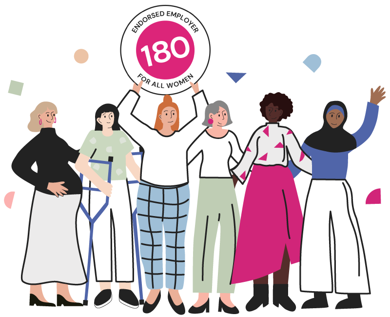 Women holding up the WORK180 endorsed employer badge