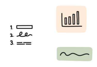 Icon of numbers, graphs, text