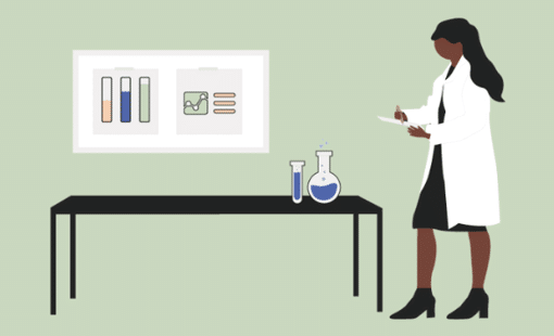 Illustration of woman scientist at lab table