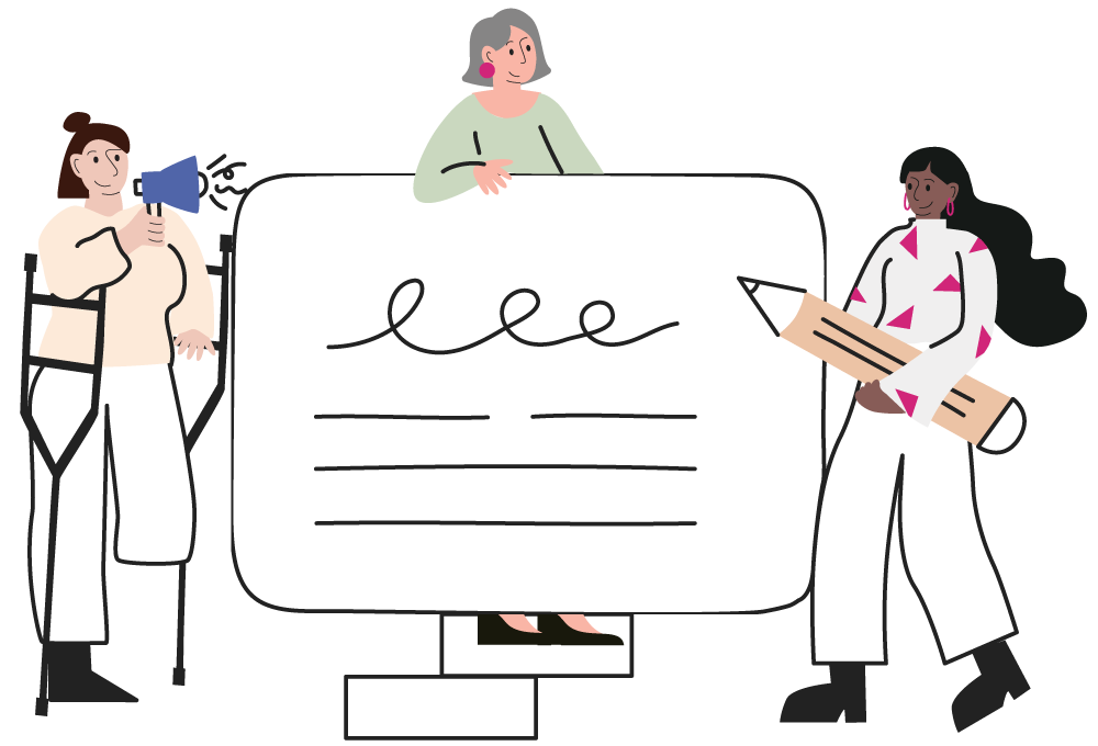 Image of a diverse range of women writing on a board